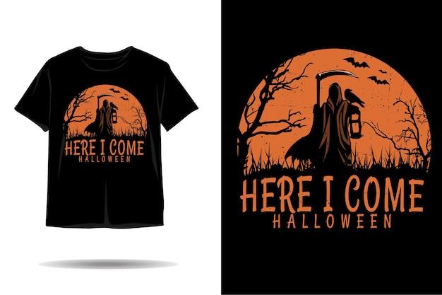 Aqui vou eu desenho de camiseta silhueta de halloween