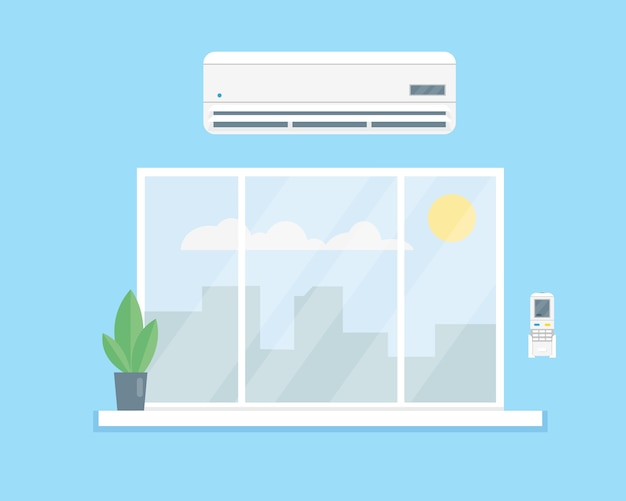 Ar condicionado acima da janela.