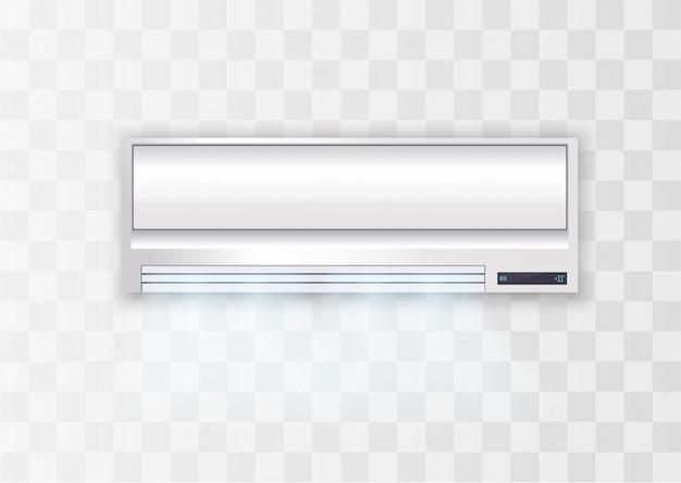 Ar condicionado branco. equipamento elétrico em casa.