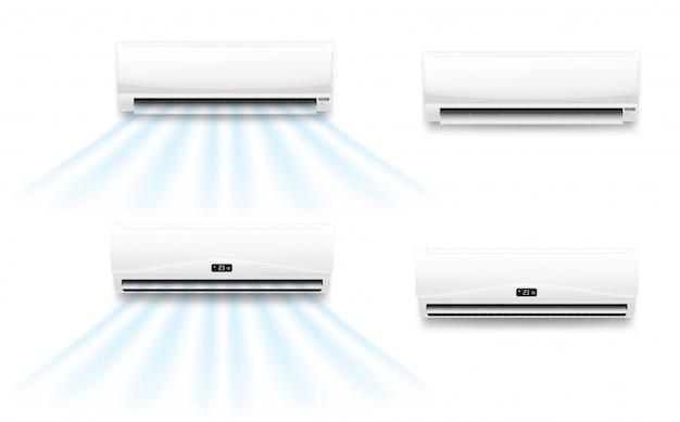 Ar condicionado com fluxo de vento frio ou quente