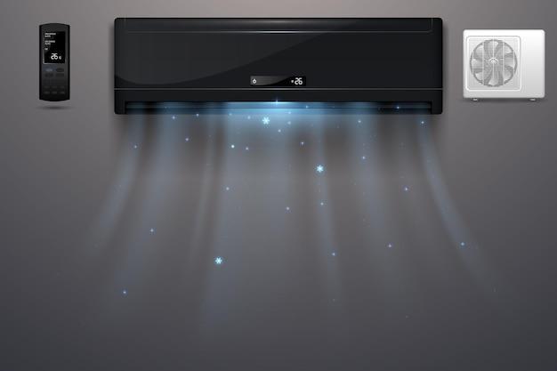 Ar condicionado preto com efeito de vento frio