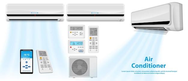 Ar condicionado realista ou sistema de ar condicionado split com controle remoto