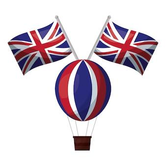 Ar de balão quente com bandeiras da grã-bretanha