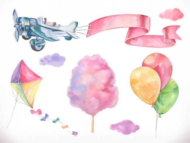 Ar em aquarela. papagaio, avião, algodão doce e nuvens, balões. conjunto