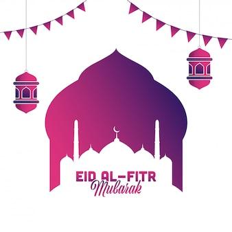 Árabe islâmico eid al-fitr mubarak, lanternas, bandeiras e mesquita