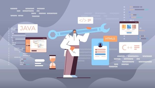 Árabe programador segurando a chave inglesa desenvolvedor otimiza engenharia de software, codificação, programação, teste, código, conceito, horizontal, full length vector illustration
