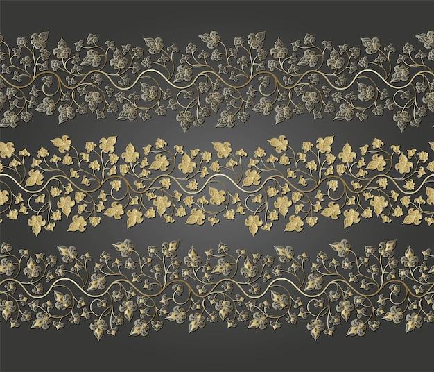Arabesco dourado sem costura padrão floral