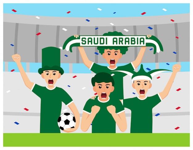 Arábia saudita apoiadores em design plano