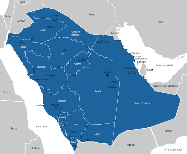 Arábia saudita mapa