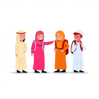 Arabian kids junior school illustration