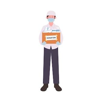 Arabian man voluntário carregando caixa de doação de medicamentos