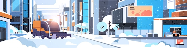 Arado de neve, caminhão, limpeza de rua do centro urbano com arranha-céus, edifícios comerciais, inverno, remoção de neve, conceito, luz do sol, paisagem urbana, plana, horizontal, vetorial