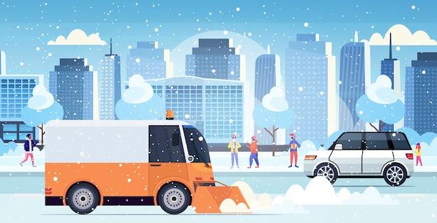 Arado de neve, caminhão, limpeza, estrada, cidade, depois, queda de neve, inverno, remoção de neve