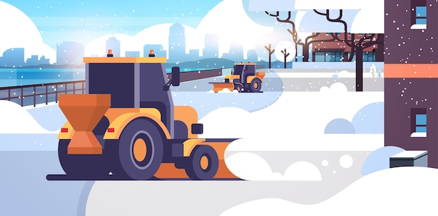 Arado de neve tratores limpeza cidade neve estrada inverno rua conceito de remoção de neve área residencial paisagem urbana plana horizontal ilustração vetorial