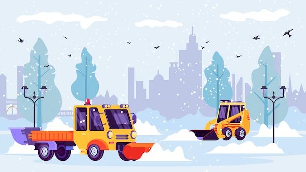 Arados de neve limpam ruas da cidade limpas da neve do inverno