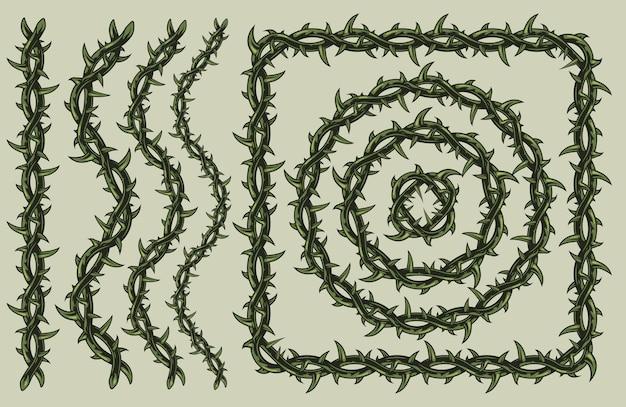 Arame farpado verde com formas quadradas e circulares de ondas lineares isoladas