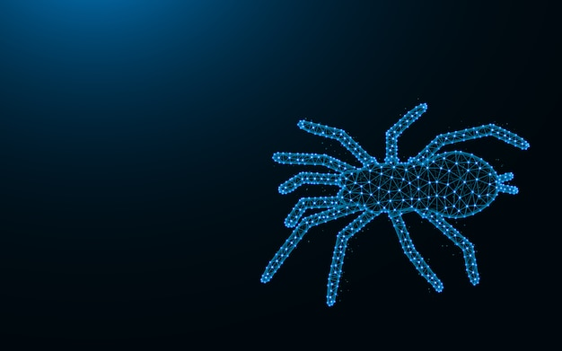 Aranha feita de pontos e linhas em fundo azul escuro, malha de arame tarântula poligonal