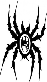 Aranha preto dos desenhos animados do ícone do vetor