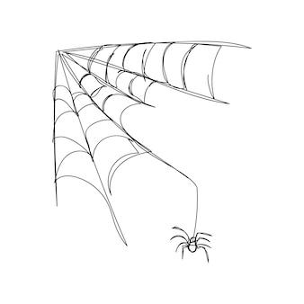 Aranha rastejando na web uma linha de arte linha contínua de tema de halloween gótico horrível assustador