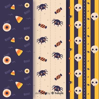 Aranhas e caveiras sem costura padrão de halloween