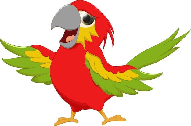 Arara feliz dos desenhos animados do pássaro acenando