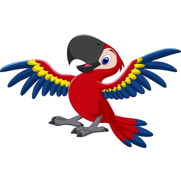 Arara feliz dos desenhos animados voando