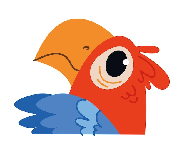 Arara papagaio vermelho bebê fofo. avatar de pássaro selvagem africano. ilustração do retrato isolada no branco. design para impressão de bebê menino e menina, cartão postal, roupas e diversão de clipart de banner