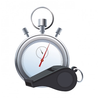 Árbitro apito e cronômetro