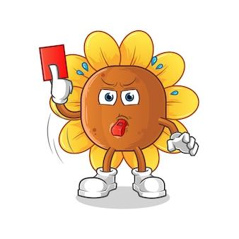 Árbitro da flor do sol com ilustração do cartão vermelho