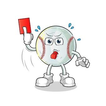 Árbitro de beisebol com ilustração de cartão vermelho