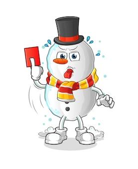 Árbitro de boneco de neve com personagem de ilustração de cartão vermelho