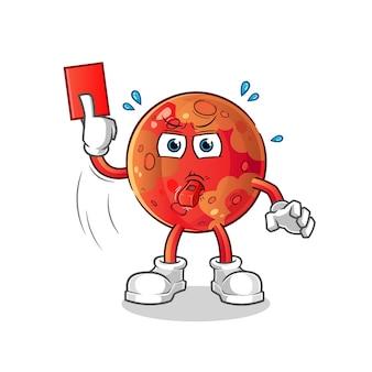 Árbitro de marte com ilustração de cartão vermelho