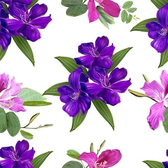 Arbusto de glória e bauhinia flores sem costura padrão