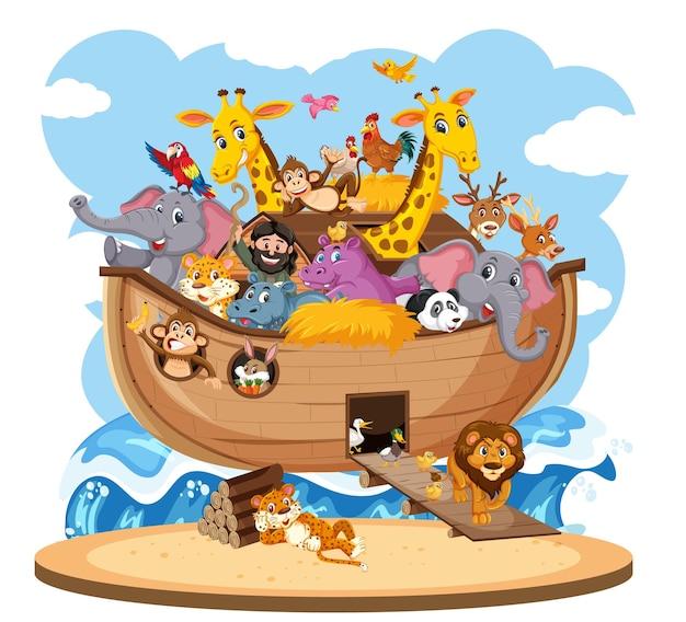 Arca de noé com animais isolados no fundo branco