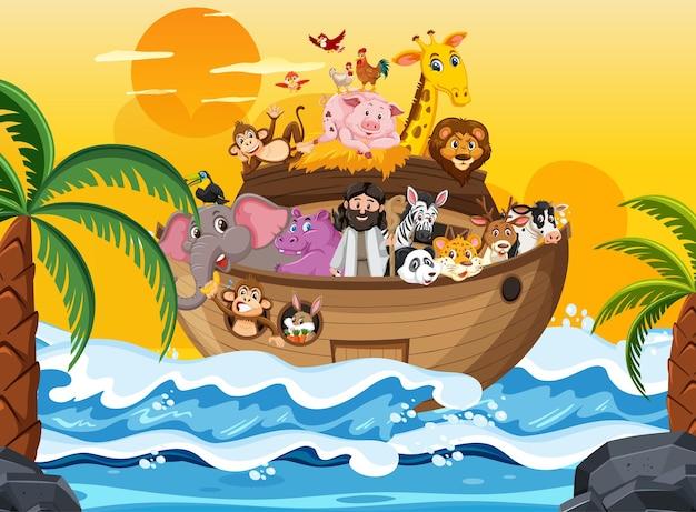Arca de noé com animais na cena do oceano