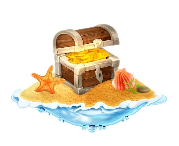 Arca do tesouro perdido de ouro na ilustração vetorial da ilha