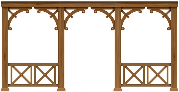 Arcada antiga varanda de madeira colonial