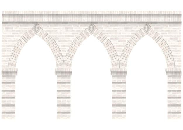 Arcada vintage da alvenaria. parede e fachada