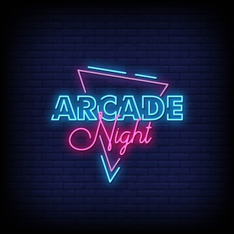Arcade night neon signs style text