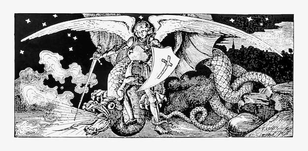 Arcanjo lutando contra um monstro