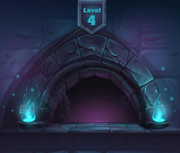 Arch magic no próximo 4º nível. para jogos, interface do usuário, design.