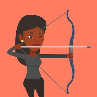 Archer treinando com a ilustração vetorial de arco.
