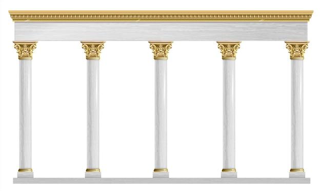 Arco clássico de luxo dourado com colunas.