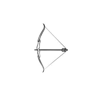 Arco com ícone de doodle de contorno desenhado de mão de flecha. arma de tiro com arco, mira e tiro ao alvo, conceito de precisão