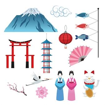 Arco construção mulher peixe gato flor montanha lâmpada guindaste japão cultura marco ásia ícone famoso