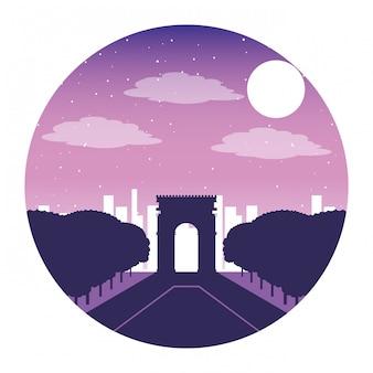 Arco da noite da cidade de paris do triunfo france