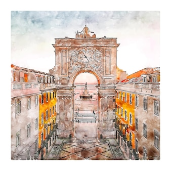 Arco da rua augusta lisboa ilustração desenhada à mão em aquarela