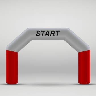 Arco de linha de partida inflável 3d. ilustração vetorial