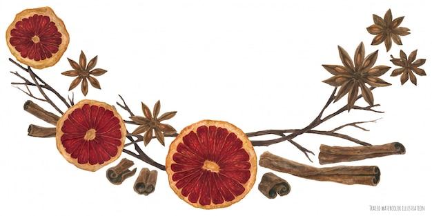 Arco de natal com ingredientes quentes de vinho quente