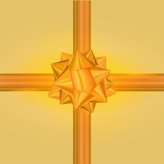 Arco de presente de ouro e fita decoração de férias brilhante sobre fundo amarelo